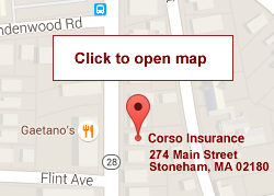 Click for Map to Corso Insurance Agency in Stoneham MA